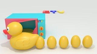 تعليم الاطفال الحروف أ ب ت ث د  مع الامثله (بطوط وبيض الحروف)