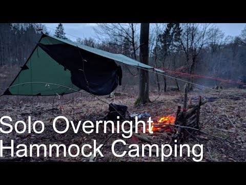 Solo PRIMITIVE overnight Hammock Camping under tarp shelter 2018