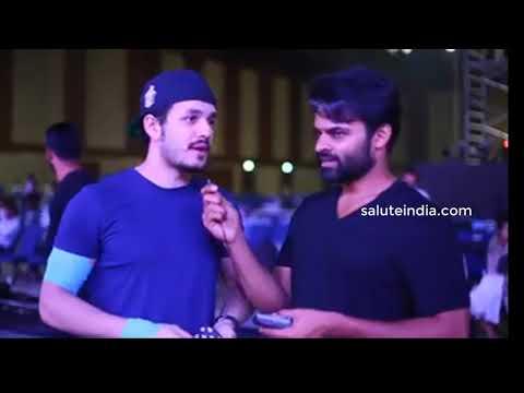 Sai Dharam Tej interviewing Akhil Akkineni for Film Fare Awards 2017