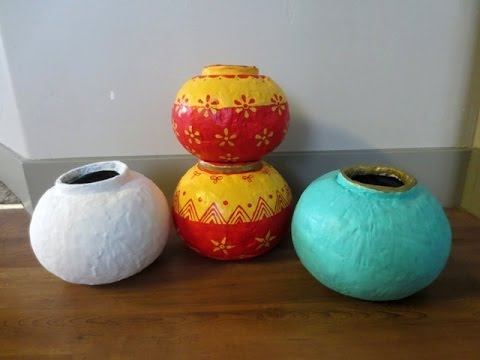 Diy How To Make Round Pots Vases Using Paper Plaster Of Paris