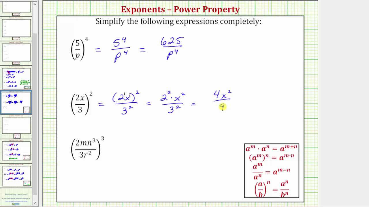 Ex: Simplify Fractions Raised To Powers (positive Exponents Only) Version 1