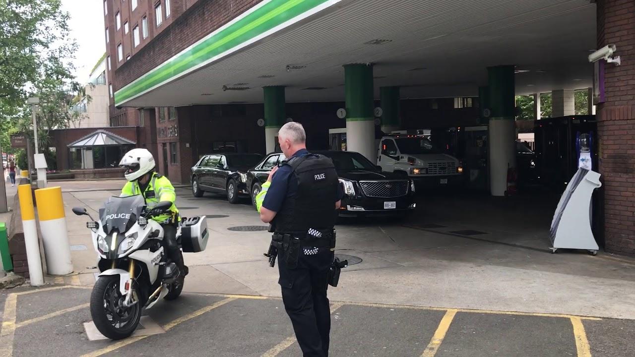 US Presidents motorcade being refueled London June 2019