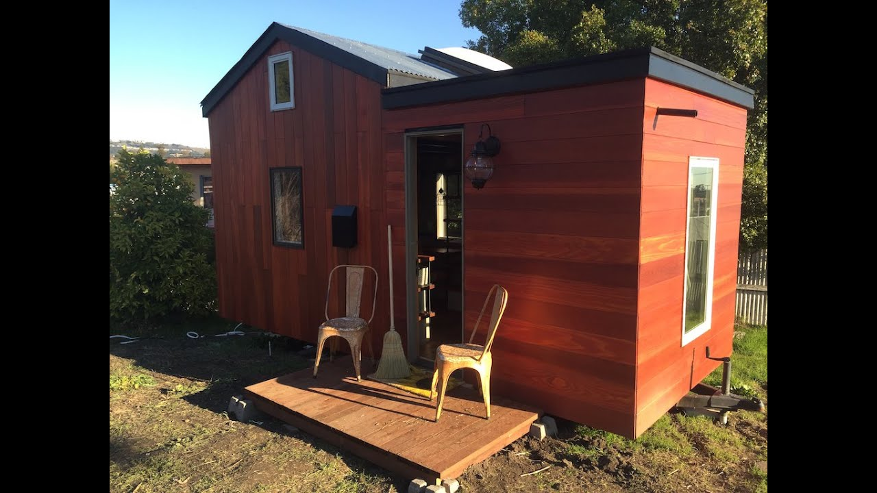 rooftop deck on this designer tiny house in oakland california youtube. Black Bedroom Furniture Sets. Home Design Ideas