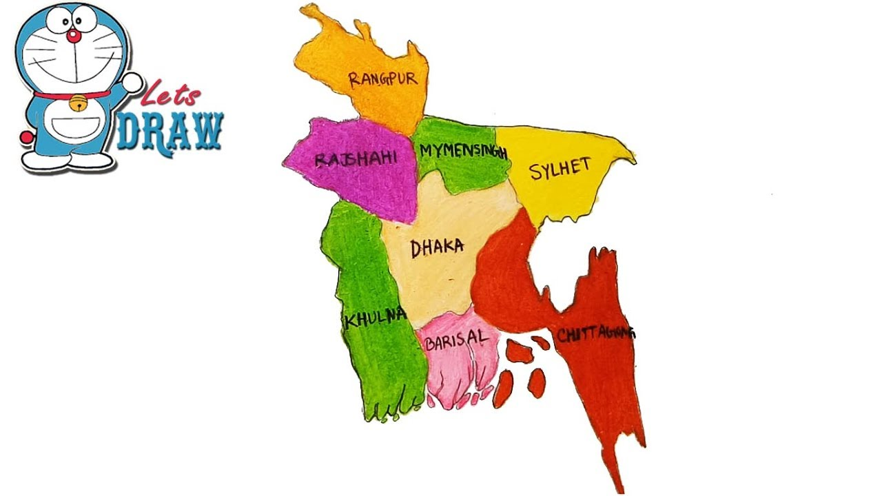 How To Draw Bangladesh Map Step By Step YouTube - Bangladesh map