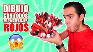 DIBUJO CON TODOS MIS MATERIALES DE COLOR ROJO !! Marcadores, Lapices, Acuarelas, etc HaroldArtist