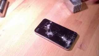 Тест на прочность заднего стекла iPhone 4 , как разбить айфон 4 , crash test, разбил iphone 4