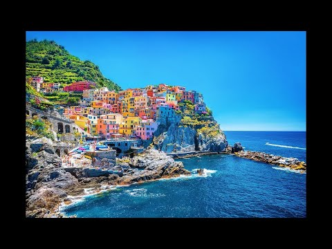 Manarola village   Landscape  Step by Step Acrylic Painting on Canvas for Beginners