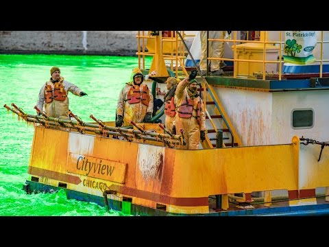 the Chicago River dyed green for St Patrick