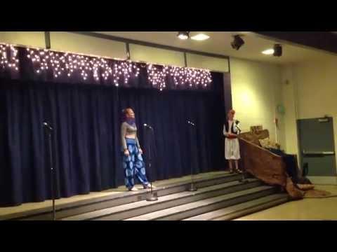 Morgan Lee playing Genie in the play Aladdin Jr Santa Fe middle school