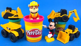 CAT Construction Toys - Playdoh play with the mighty machines construction train & bulldozer