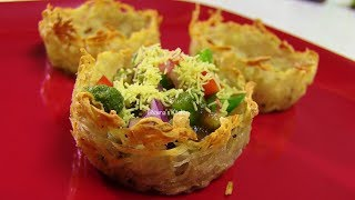 Aloo Tokri Chaat video recipe - Stuffed Potato Baskets recipe - Indian Recipes by Bhavna