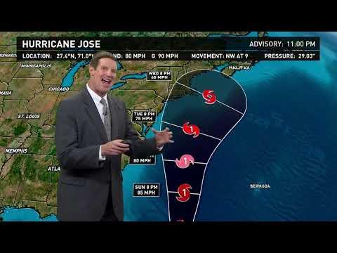 Jose strengthens into category 1 hurricane
