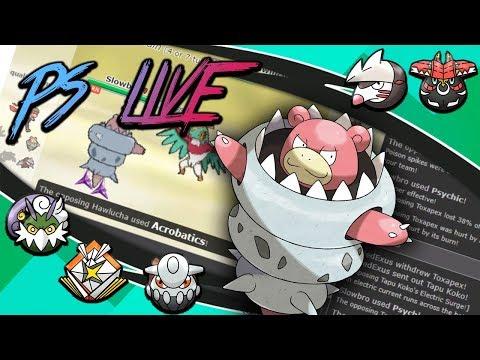 Pokemon Ultra Sun and Moon Showdown Live #24 -Mega Slowbro,Band Kartana,Helmet Tornadus (Smogon OU)