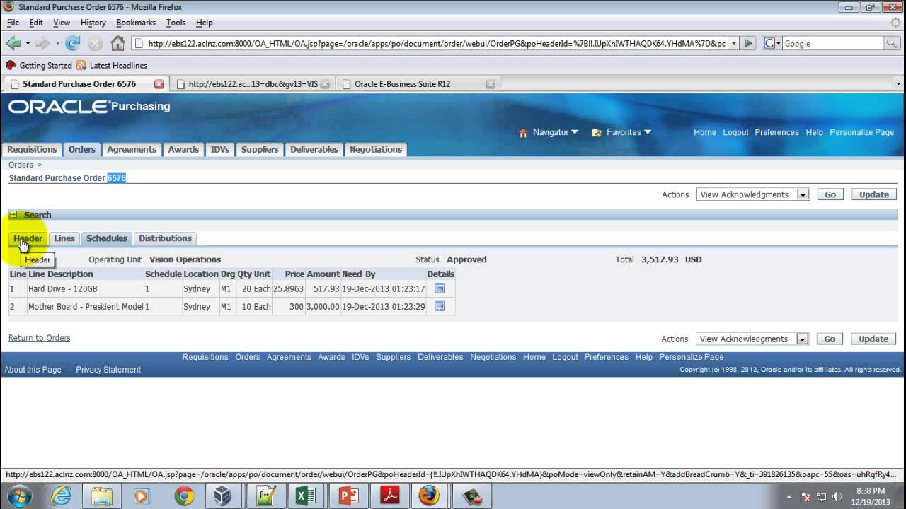 PO Matching to Invoice in R12 2 Oracle Payables