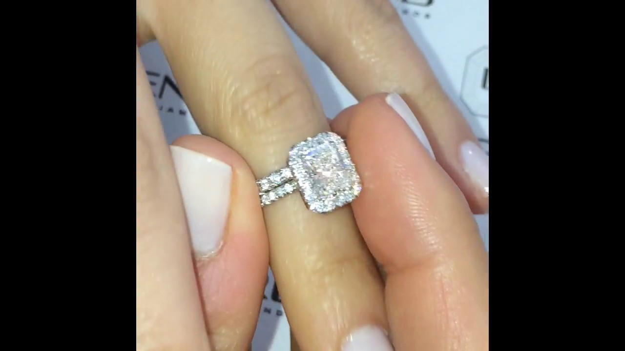 Radiant Cut Diamond Halo Insert Ring