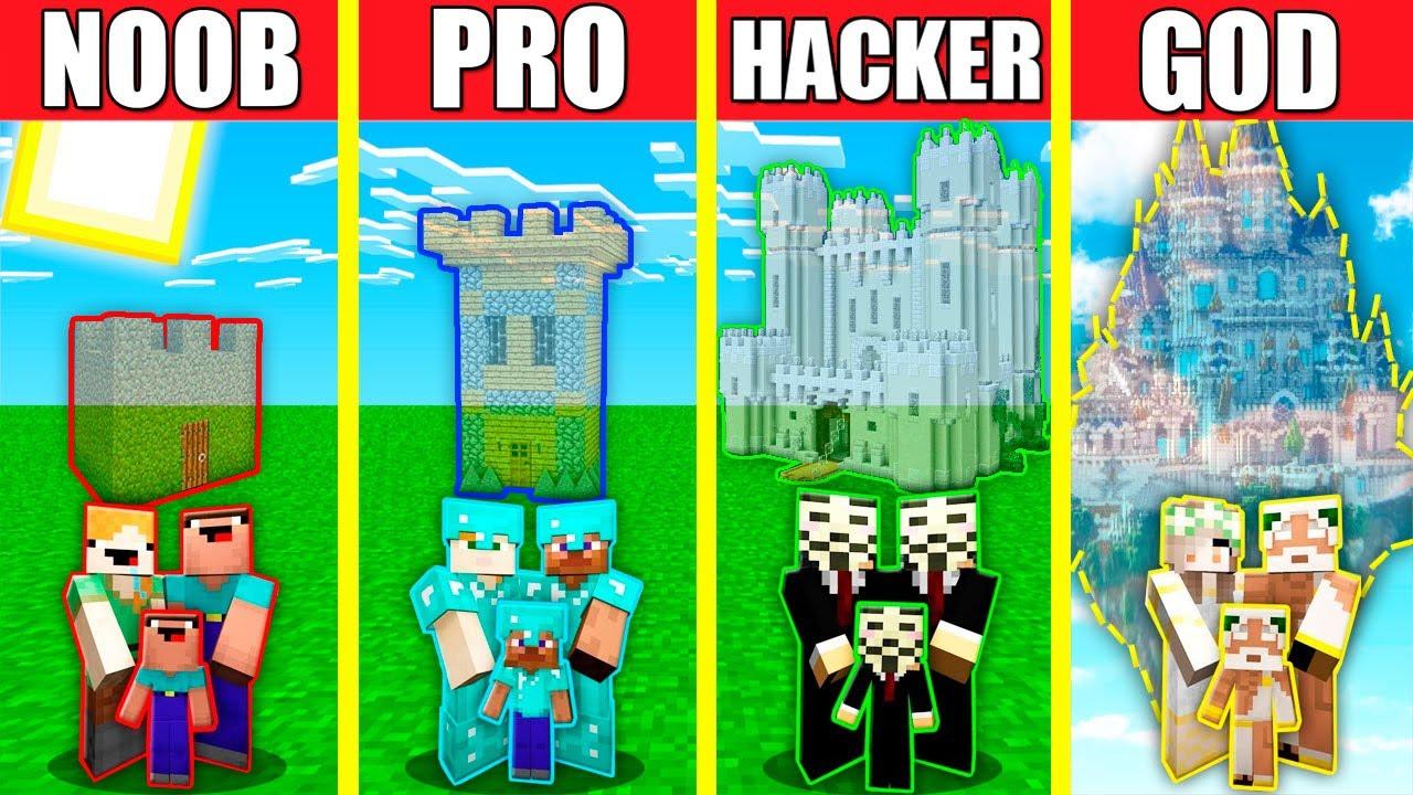 Minecraft Battle: INVISIBLE CASTLE HOUSE BUILD CHALLENGE - NOOB vs PRO vs HACKER vs GOD / Animation