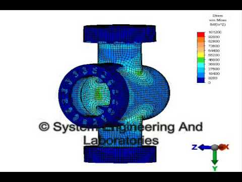 Preliminary Finite Element Analysis depicting pressure inside a valve