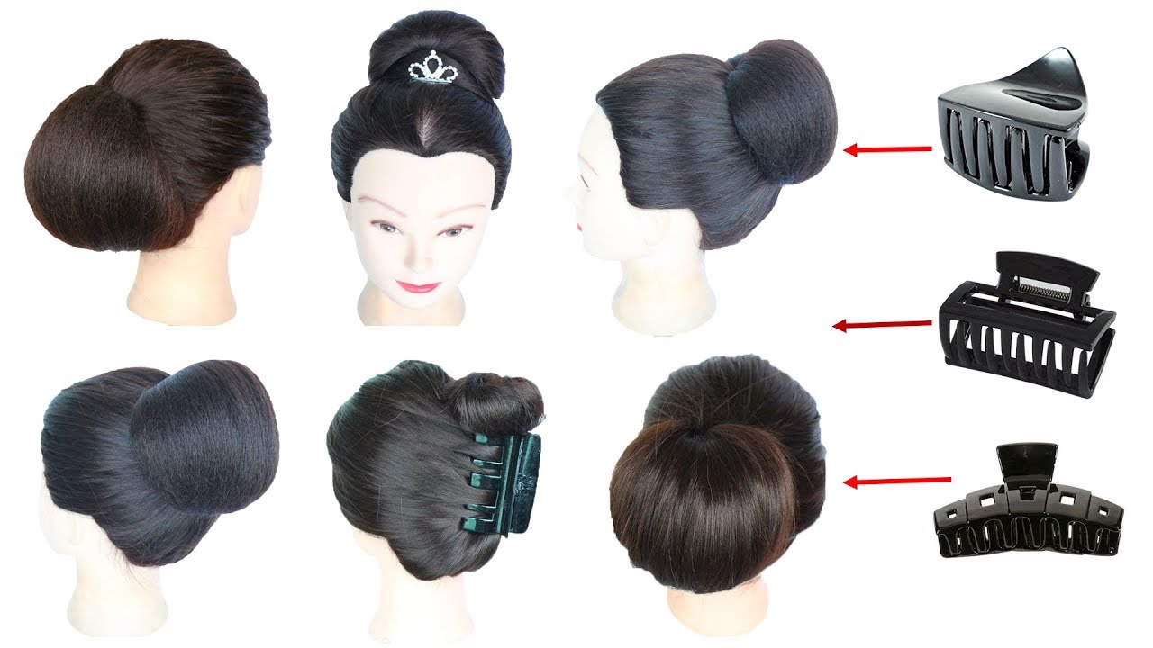 Image result for 6 easy everyday hairstyle with using clutcher || juda hairstyle || simple hairstyle || hairstyle