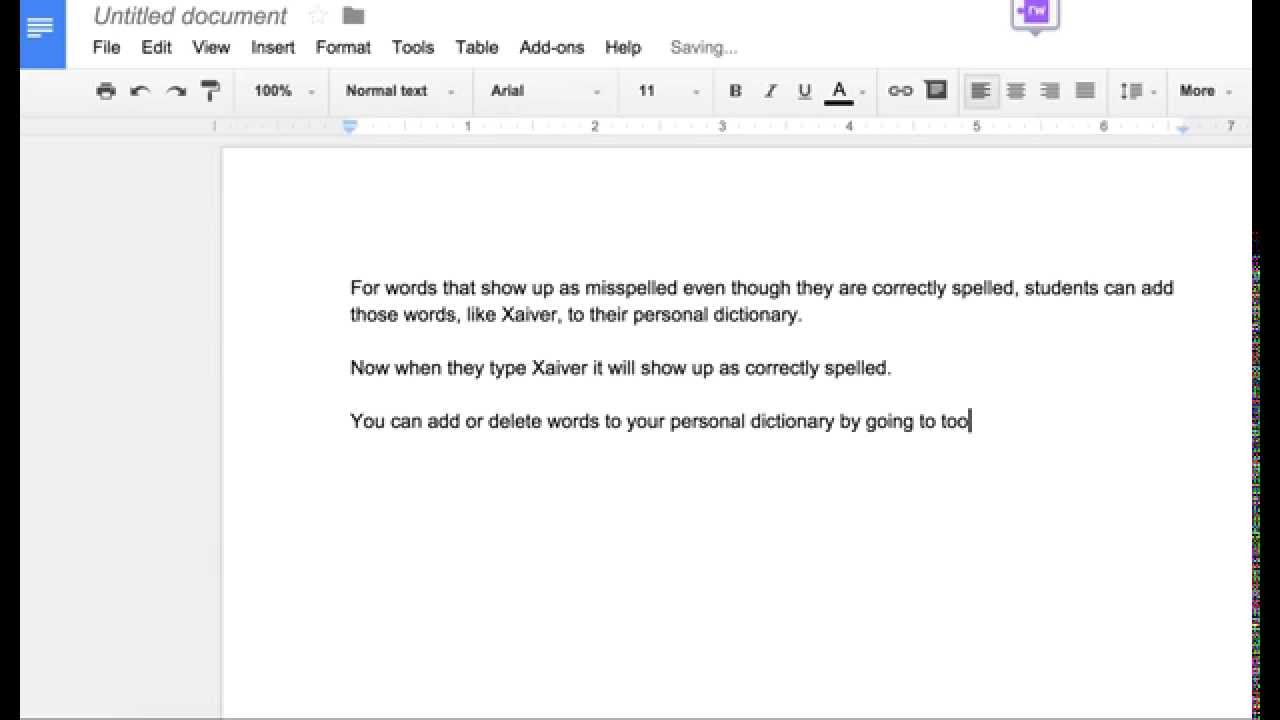 Adding Words to your Personal Dictionary in Google Docs - YouTube