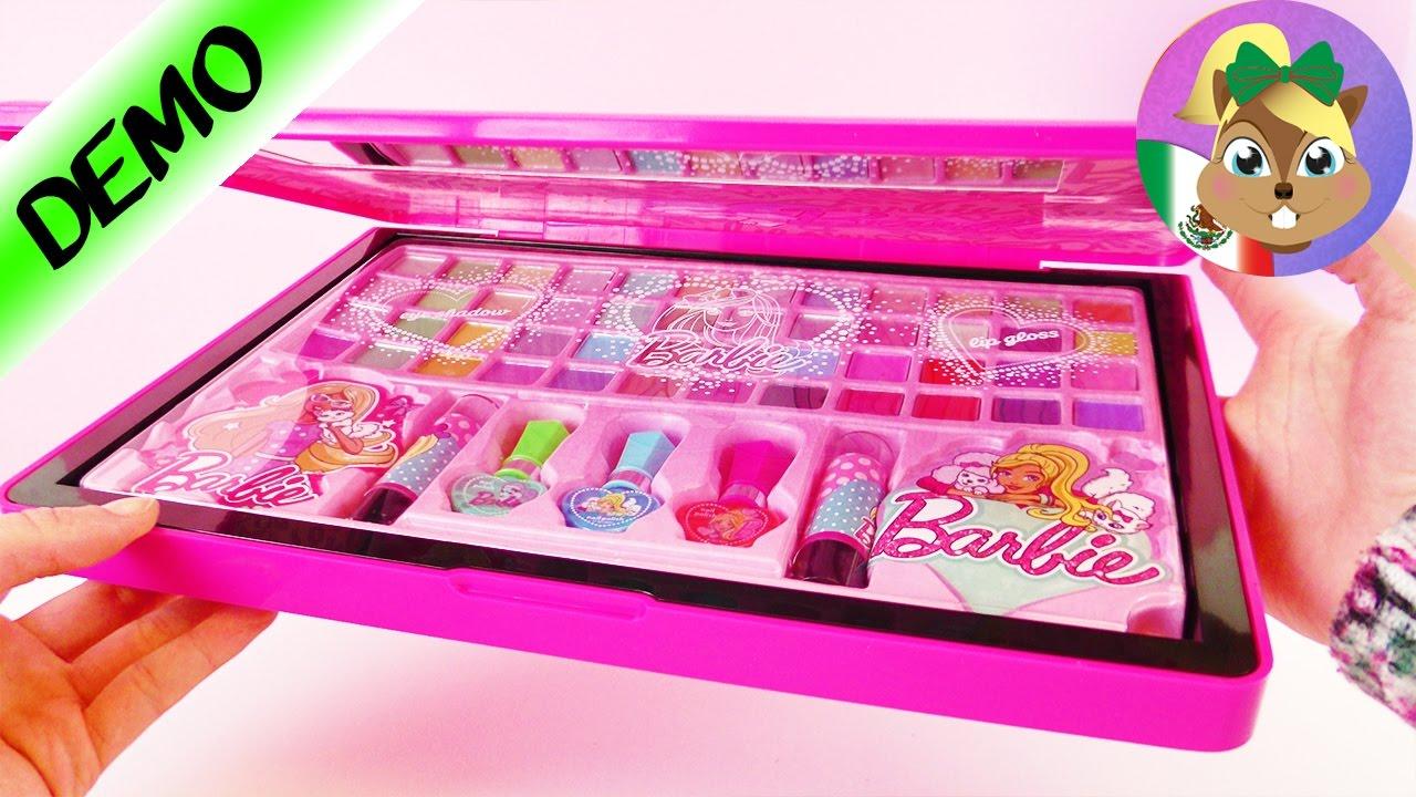 cfcca4924 BARBIE MAKE UP/ Laptop con MÁS de 50 sombras y brillos labiales/ Maquillaje  para niños