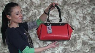 Видео обзор - Женская красная сумка саквояж