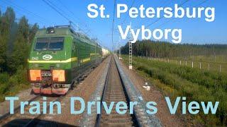 С. Петербург - Выборг из кабины машиниста / St. Peterburg - Vyborg Train driver`s view