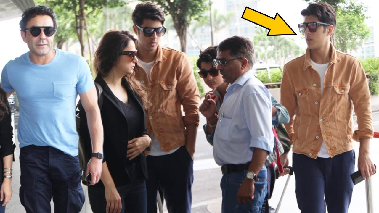 Bobby Deol With His Handsome Son Aryaman Deol And Wife At Airport