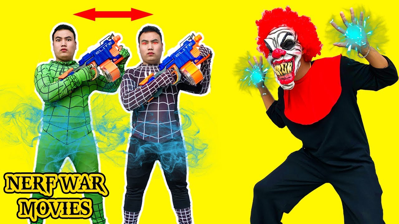 Nerf War Movies: Spider X Warriors Nerf Guns Fight Criminal Group Spider Man Transformed Into Black