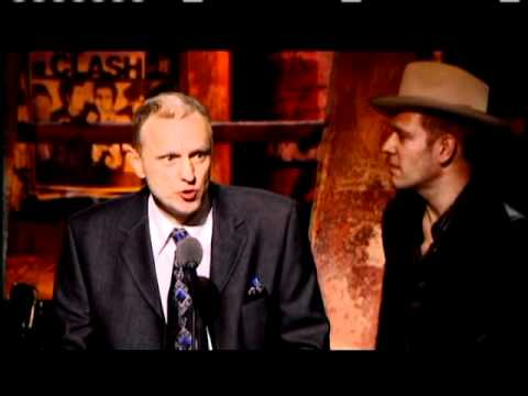 The Clash accepts award Rock and Roll Hall of Fame inductions 2003