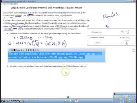Large Sample Inference for Means