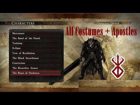 Berserk: All Characters, Costumes, Apostles and Bosses (English -Non DLC only - Musou)