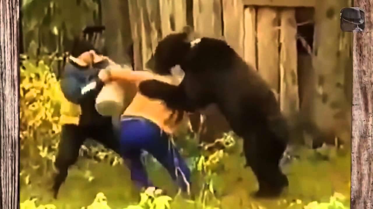 Приколы охота на медведя  Хотя это медведь напал на человека  Часть 2