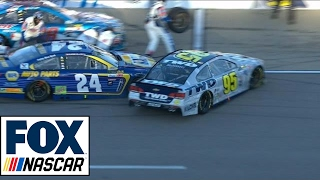 Chase Elliott Collides with Michael McDowell on Pit Road | 2017 KANSAS | FOX NASCAR