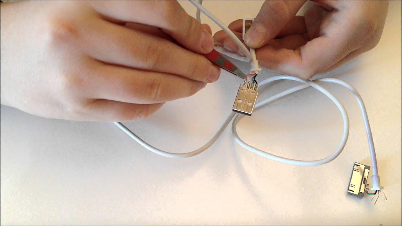 Schema Cablaggio Cavo Usb : Guida per riparare il connettore ad un cavo apple youtube