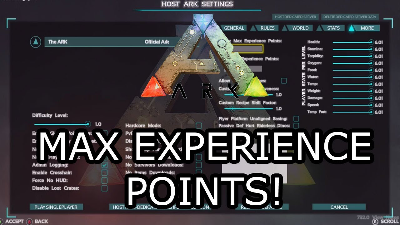 ARK: SURVIVAL EVOLVED - MAX EXPERIENCE POINTS SLIDER! - EXPLAINED!