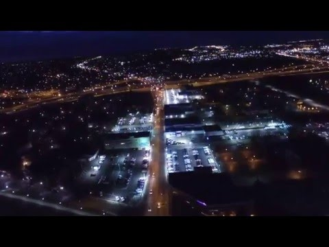 Dayton, Ohio at night drone footage