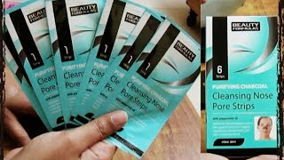 remove blackheads at home charcoal nose pore strips demo review