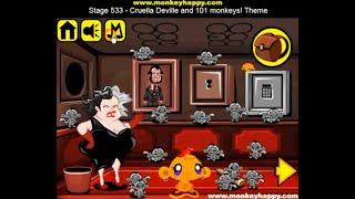 Прохождение Игры. Обезьянки. Этап 533. Круэлла Девиль и 101 обезьяна! Онлайн Игры.