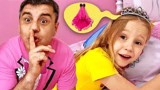 Nastya ve baba prenses partisi için kendi parti elbiselerini yapıyorlar