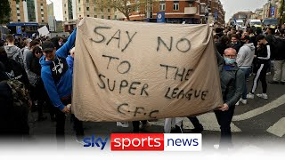 Chelsea fans protest outside of Stamford Bridge over the European Super League