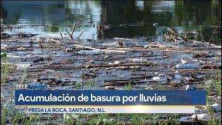 Tras lluvias se acumula basura en la presa La Boca