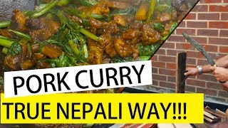 Survival skill cooking curry pork recipe