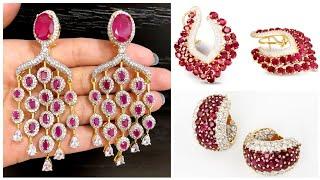 Most Stunning & Luxury Party Wear Ruby Diamond Earrings Designs In Gold