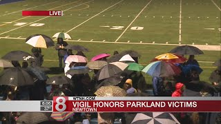 Vigil held in Newtown to honor Parkland victims