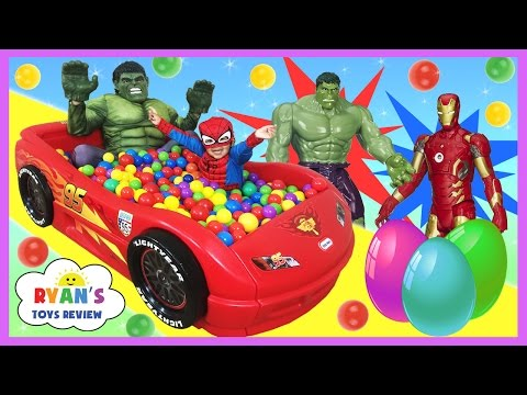 GIANT BALL PIT SURPRISE TOYS CHALLENGE Disney Cars Toys Spiderman Vs Hulk Surprise Eggs For Kids