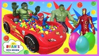GIANT BALL PIT SURPRISE TOYS CHALLENGE Disney Cars Toys Spiderman vs Hulk Surprise Eggs for Kids
