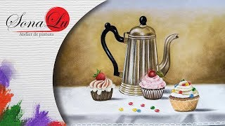 Bule com Cupcakes em Tecido (Parte 1)