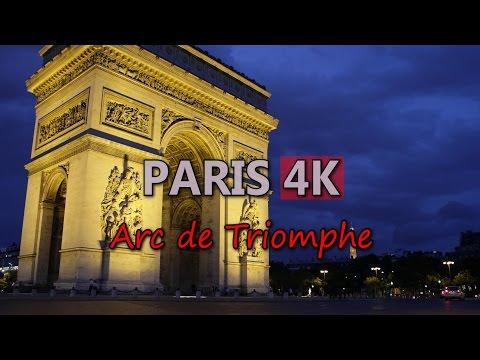Ultra HD 4K Paris Travel France Tourism Arc de Triomphe Triumphal Arch UHD Video Stock Footage
