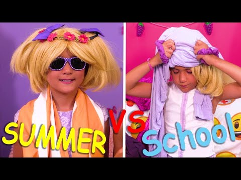 Summer vs School Morning Routines ✨Princesses In Real Life | Kiddyzuzaa
