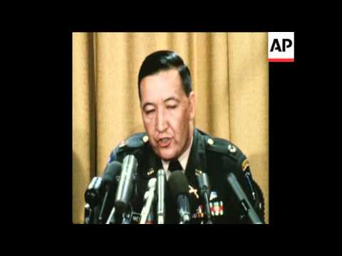 SYND05/12/69 CAPTAIN MEDINA HOLDS A PRESS CONFERENCE ABOUT THE MY LAI MASSACRE